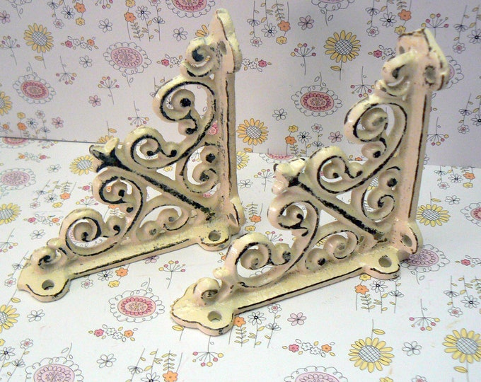 "Wall Bracket Mini 4"" Cast Iron Ornate Metal Brace Shabby Chic Creamy Off White 1 Pair (2 individual brackets) Fleur de lis FDL Farmhouse"