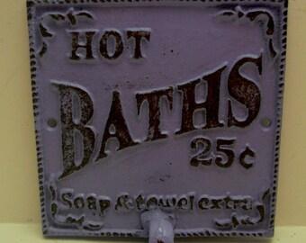 Hot Baths 25 Cents Soap Towels Extra Wall Hook Shabby Chic Purple Lilac Bathroom Decor