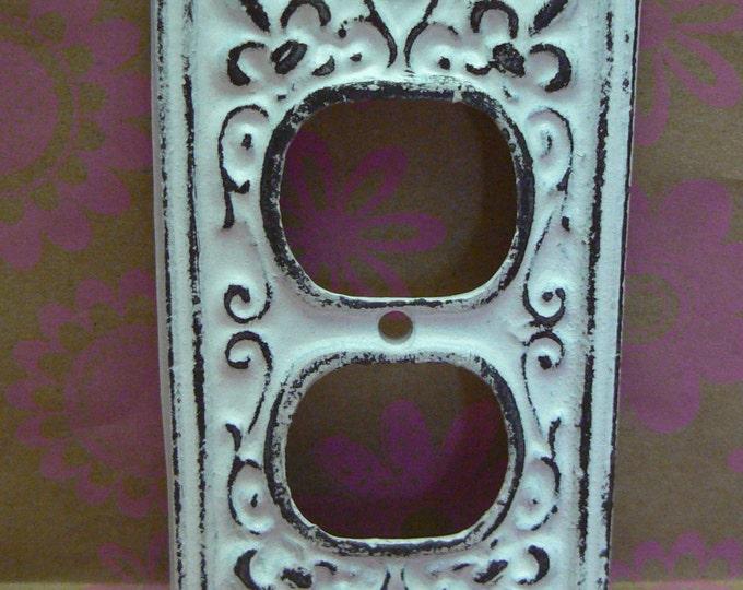Fleur de lis Cast Iron FDL Plug Cover Shabby Chic White Home Decor