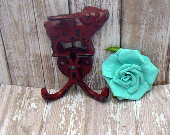 When Pigs Fly Red Wall Double Pig Hook Shabby Chic Rustic Farmhouse