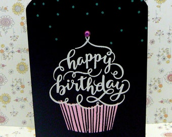 Happy Birthday Cupcake Confetti Sign Chalkboard Plaque on Wood Stand