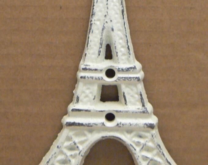 Eiffel Tower Cast Iron Shabby Elegance Off White Cream Wall Hook French Design Decor Paris Coat Jewelry Towel Hat Leash Key Mudroom Hook