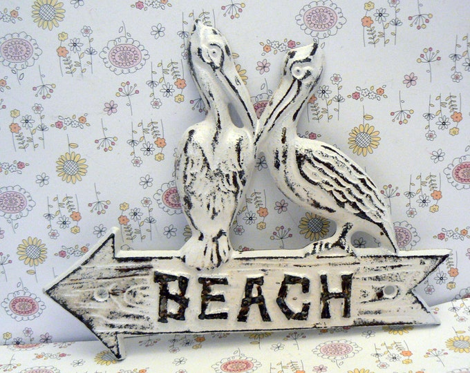 Pelican Beach Arrow Door Sign White Shabby Chic Cottage Chic Nautical Beach Condo Home Decor
