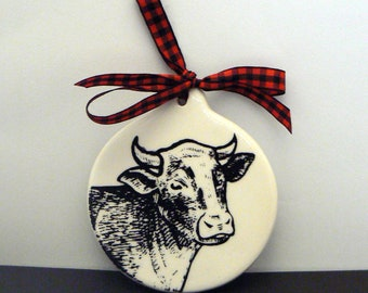 Cow Ornament Christmas Farmhouse Country Chic Ceramic Holiday Gift Decor