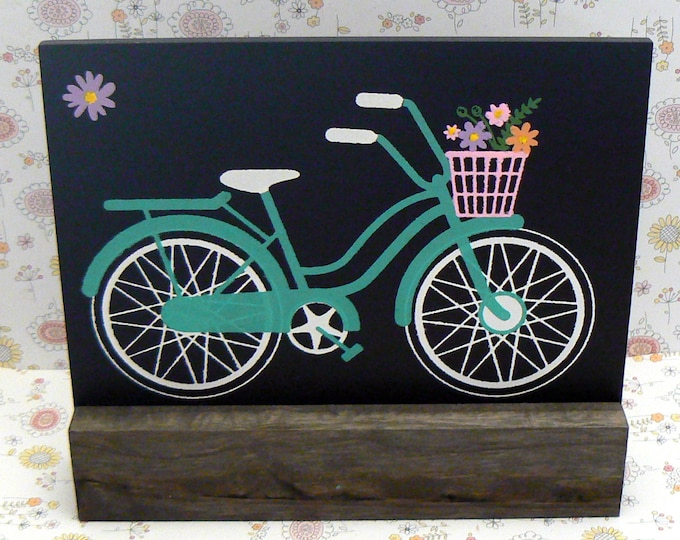 Bicycle Vintage Style Pink Flower Basket Sign Chalkboard Plaque on Wood Stand