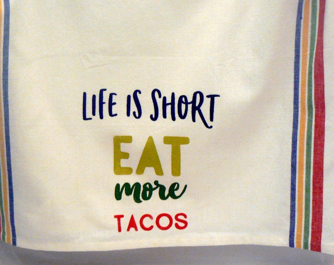 Life is Short Eat More Tacos Hand Towel Cotton Tea Towel Red Yellow Blue Green Retro Stripe Taco Kitchen Towel