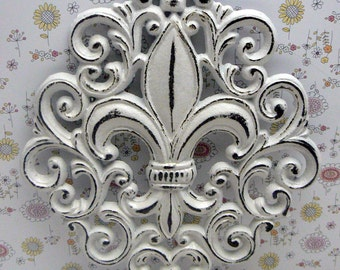 Fleur de lis Cast Iron Shabby Chic White FDL Ornate Wall Art Home Decor