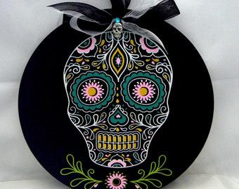 Sugar Skull Black Chalkboard Halloween Mexican Folk Art Door Decor