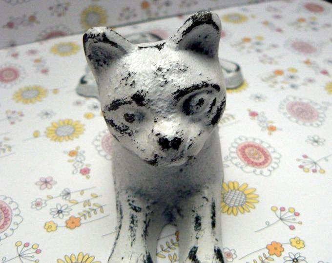 Cat Door Stop Cast Iron Shabby Chic White Kitty Kitten Doorstop Prop Home Decor