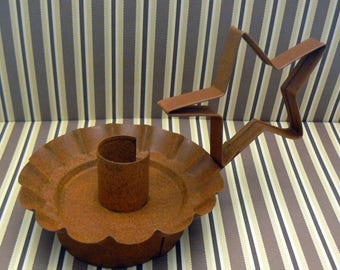 Primitive Rusty Metal Tin Star Handled Taper Candle Holder Country Chic Farmhouse