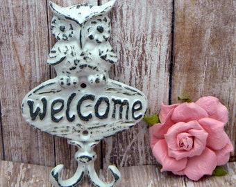 Owl Welcome Wall Hook Shabby Chic White Cast Iron Leash Keys Mudroom Key Woodland Rustic Home Decor