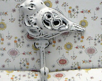 Bird Cast Iron Hook Shabby Chic White Home Decor