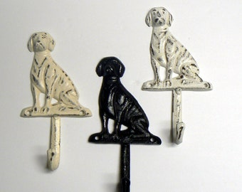 Dog Hook Cast Iron 3 Color Options Shabby Chic Leash Hook Home Decor
