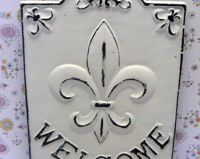 Fleur de lis Ornate Welcome FDL Sign Shabby Chic White Home Decor
