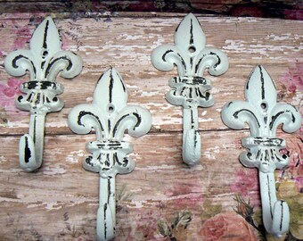 Fleur de lis Cast Iron Shabby Chic White Mini FDL Set 4 Wall Hooks Home Decor