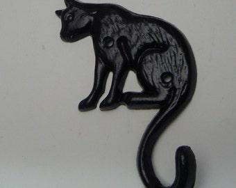 Cat Hook Cast Iron Black Kitty Feline Home Decor