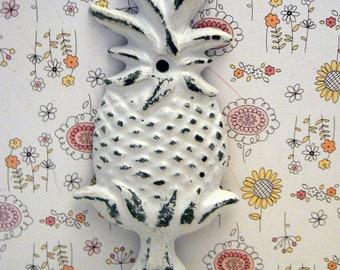 Pineapple Shabby Chic White Tropical Beach Wall Hook Home Decor