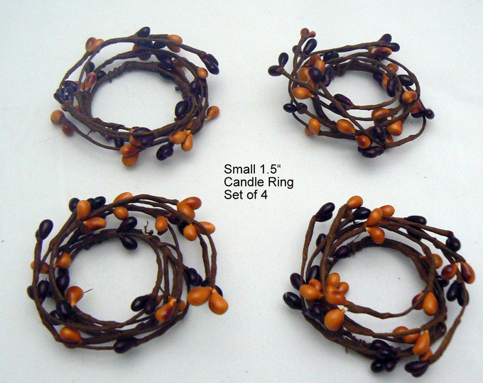 Pip Berry Candle Rings Set of 4 Burundy Mustard Primitive Country Chic Home Decor