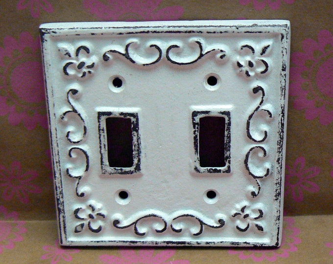 Fleur de lis Cast Iron FDL Light Switch Double Cover Shabby Chic White Home Decor