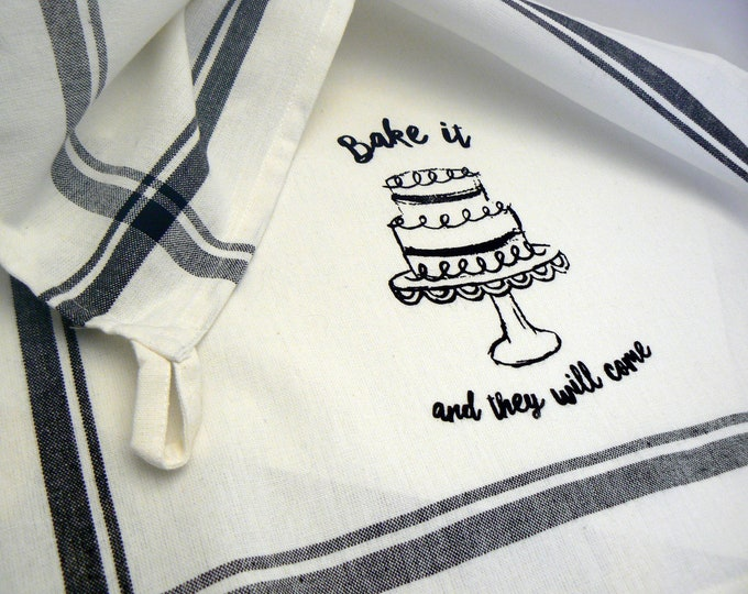 Bake It And They Will Come Kitchen Towel Black Striped Cotton Hand Tea Towel