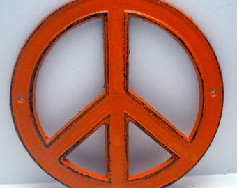 Peace Sign Cast Iron Orange Wall Art Shabby Chic Retro 70's Home Decor