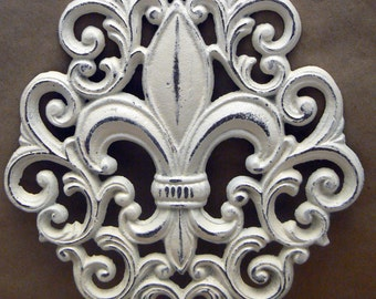 Fleur de lis Cast Iron Shabby Chic Off White FDL Ornate Wall Art Home Decor