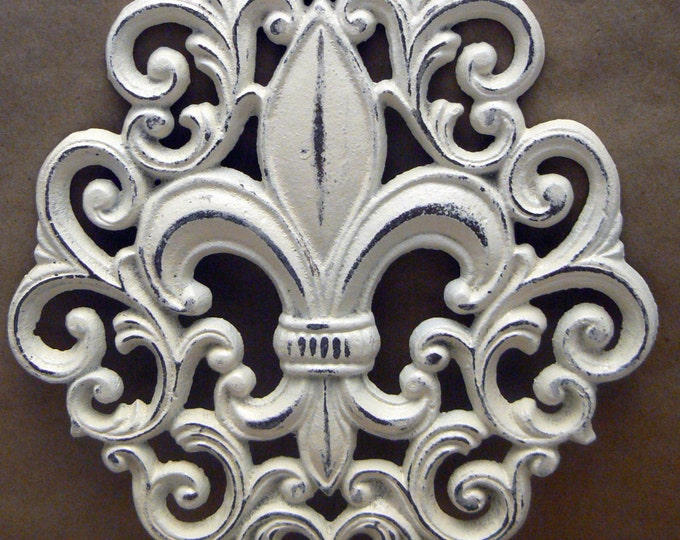 Fleur de lis Cast Iron Shabby Chic Off White FDL Ornate Wall Art Home Decor
