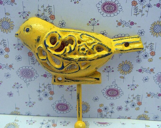 Bird Cast Iron Wall Hook Shabby Chic Yellow Nursery Home Decor