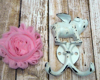 When Pigs Fly White Wall Double Pig Hook Shabby Chippy Rustic Farmhouse Barnyard Leash Jewelry Flying Piggy Garden Bathroom Small Hooks
