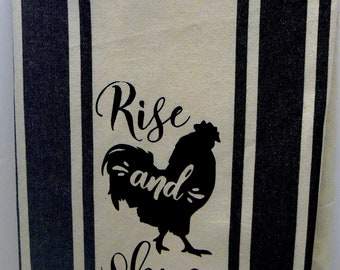 Farmhouse Chicken Hand Towel Rise and Shine Tea Towel Black Retro Stripe