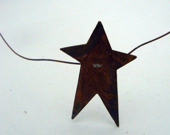 """Primitive Garland Rusty Metal Tin 9 Star 6 ft x 2"""" Garland Country Chic Home Decor"""