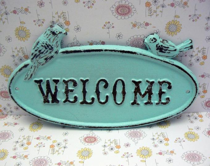 Bird Welcome Sign Light Cottage Blue WELCOME Birds Plaque