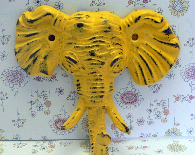 Elephant Cast Iron Tusk Wall Hook Shabby Chic Yellow Home Decor