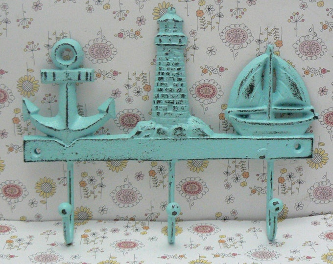 Anchor Lighthouse Sailboat Cast Iron Wall Hook White Shabby Chic Cottage Chic Beach Nautical Home Decor