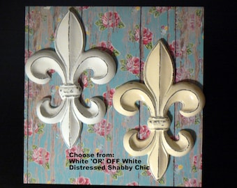 Fleur de lis FDL Shabby Chic Cast Iron Metal Wall Decor Distressed Choose fr White OR Creamy OFF White Paris New Orleans Old World Home