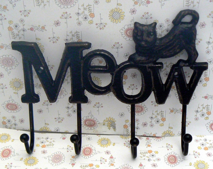 Cat Meow 4 Hook Cast Iron Shabby Chic Black Wall Hook