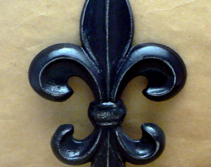 Fleur de lis Cast Iron FDL Wall Art Black Shabby Chic Home Decor