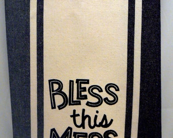 Bless This Mess Kitchen Tea Towel Black Retro Stripe