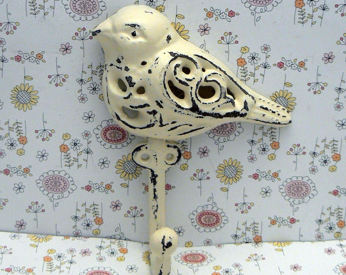 Bird Cast Iron Hook Shabby Chic White Home Decor