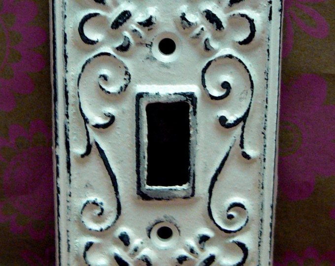 Fleur de lis Cast Iron FDL Light Switch Cover Shabby Chic Off White Home Decor