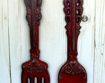 Fork Spoon Set Wall Decor Shabby Chic Red Home Decor Wall Art
