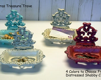 Farmhouse Business Card Holder 4 Color Options Shabby Chic Desk Office Trinket Dish