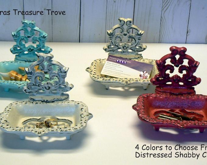Farmhouse Business Card Holder 4 Color Options Shabby Chic Desk Office Trinket Dish