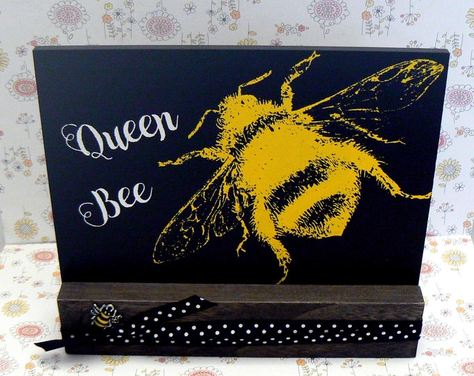 Queen Bee Bumble Bee Chalkboard Plaque Office Home Decor