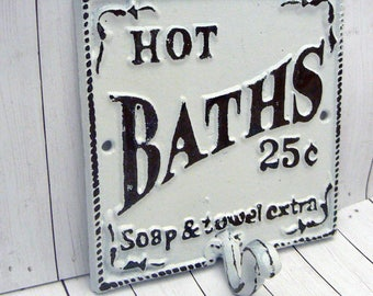 Hot Baths 25 Cents Soap Towels Extra Wall Hook Shabby Chic White Bathroom Decor