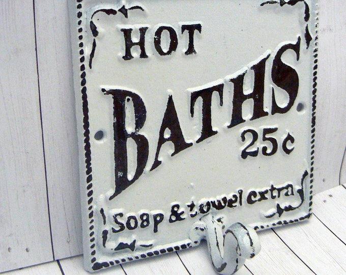 Hot Baths 25 Cents Soap Towels Extra Wall Hook Shabby Chic White Bathroom Decor