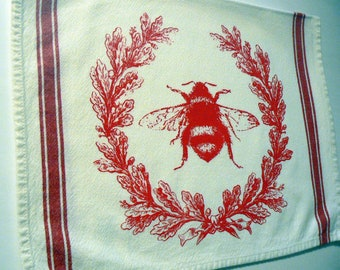 BumbleBee Hand Towel Hive Laurel Wreath Honey Bee Kitchen Towel Red