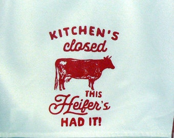 Kitchen's Closed This Heifer's Had It Chalk Couture Red Design Farmhouse Cow Cotton Tea Towel