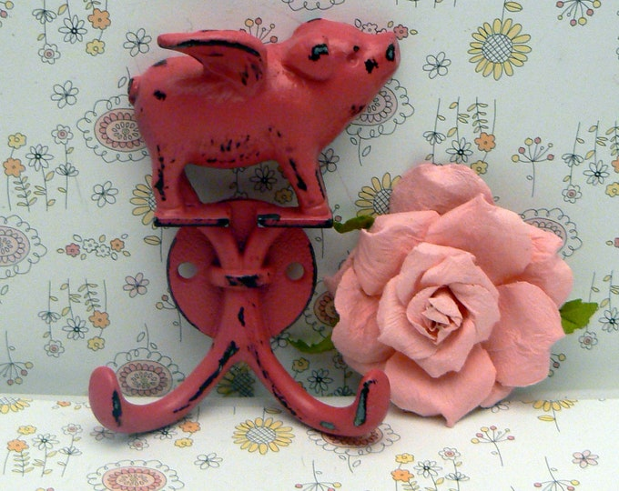 When Pigs Fly Hot Pink Wall Double Pig Hook Shabby Chic Rustic Farmhouse
