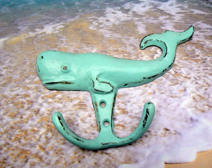 Whale Cast Iron Wall Hook Cottage Chic Beach Blue Nautical Home Decor